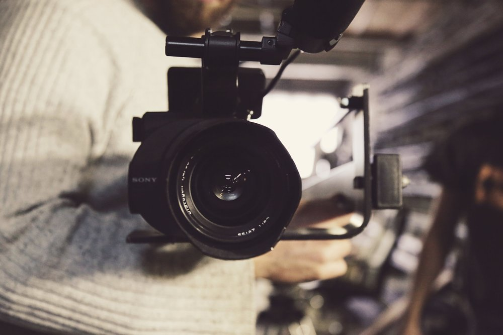 Sony Camera with lens on stabilizer